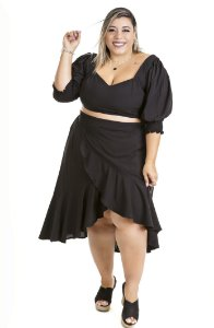 Cropped Plus Size Fatal Preto