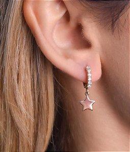Mini Argola com Zirconia e Pingente de Estrela