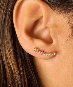 Ear cuff Com Zirconias Em Forma De Coração