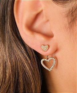 Brinco Com Dois Corações Cravejados Estilo Ear Jacket