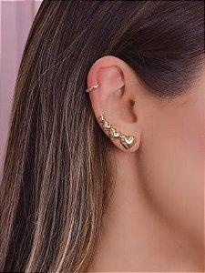 Ear Cuff Com Quatro Corações Lisos