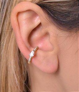 Piercing fake com micro zirconia e zirconia de gota no meio