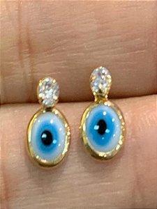 Brinco de olho grego com zirconia em cima tam P