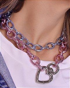 Colar com nelos grossos pink chain