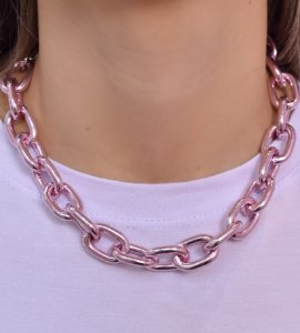 Choker correntaria elos M Pink Chain