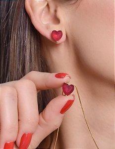 Conjunto coração de zirconia rubi