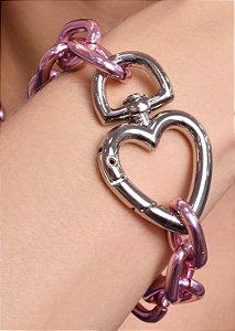 Pulseira estilo cartier pink chain com fecho de coração no rodio