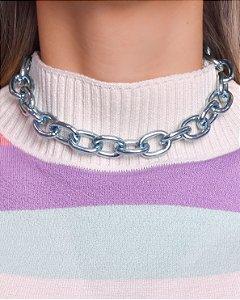Choker correntaria elos M Blue Chain