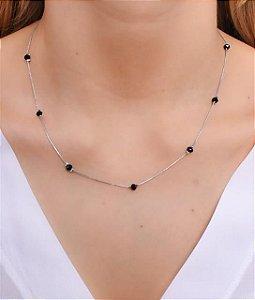 Choker com corrente veneziana e cristais pretos