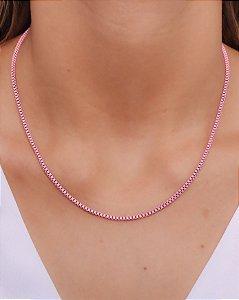 Corrente estilo veneziana P resinada na cor rosa BB