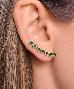 Brinco ear cuff com zirconias em forma de coração