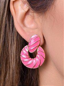 Argola oval resinada pink