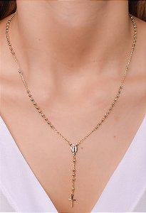 Colar estilo terço tradicional com cruz simples, Nossa Senhora das Graças. Réplica de ouro