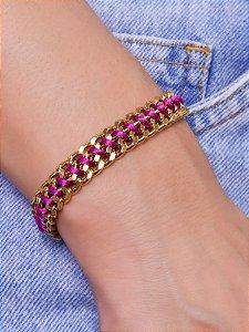 Pulseira estilo cadeado com cordão colorido