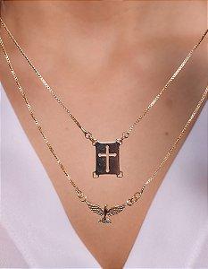 Escapulário com pingente de cruz e divino