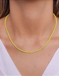 Corrente cadeado pequeno na amarelo neon