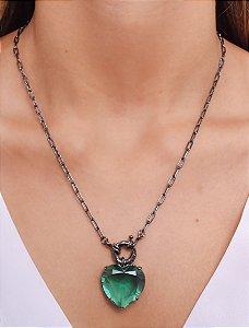 Corrente de cadeado com pingente de coração verde e fecho boia