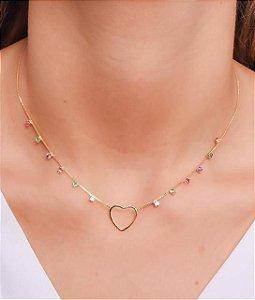 Choker com zirconias coloridas e coração vazado