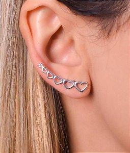 Brinco ear cuff de coração - Prata 925