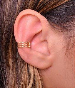 Piercing fake com 3 fios redondos. Réplica de ouro