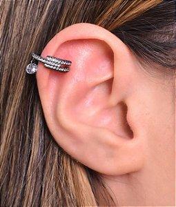 Piercing fake com zirconia pendurada