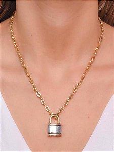 Choker de corrente de cadeado pequeno e pingente de cadeado com duas cores