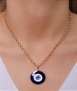 Colar estilo elo portugues com fecho boias e pingente de olho grego azul