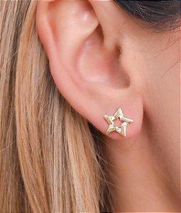 Brinco de estrela com zirconias