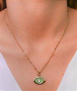 Choker corrente cartier com pingente de olho grego resinado verde e branco