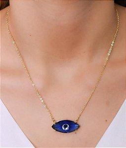 Colar com olho grego azul escuro