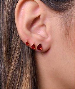 Trio de brinco fixo de zirconia vermelha em formato de gota