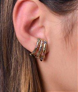 Ear Hook com zirconias coloridas
