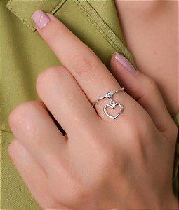 Anel com zirconia e pingente de coração vazado. Prata 925