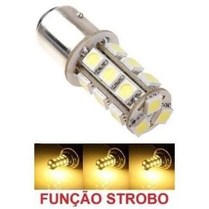 Lampada 18 Led Ba15s 1 Polo 1156 1141 Flash Strobo Laranja 12v