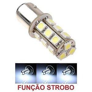 Lampada 18 Led Bay15d 2 Polo 1157 1034 Flash Strobo Branco 12v