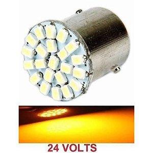 Lampada 22 Led Ba15s 1 Polo P21w 1156 1141 Laranja 3020 24v