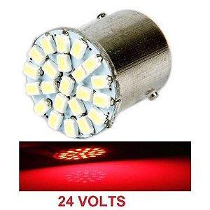 Lampada 22 Led Ba15s 1 Polo P21w 1156 1141 Vermelho 3020 24v