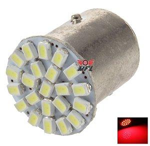 LAMPADA 22 LED BA15S 1 POLO P21W 1156 1141 VERMELHO 3014 12V