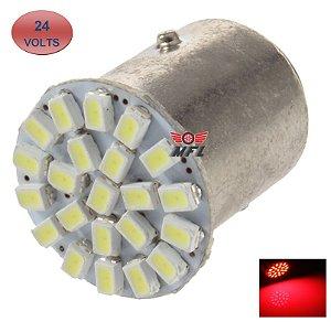 LAMPADA 22 LED BA15S 1 POLO P21W 1156 1141 VERMELHO 3014 24V