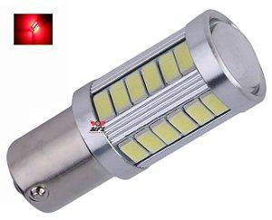 LAMPADA 33 LED CREE BA15S 1 POLO P21W 1156 1141 VERMELHO 12V