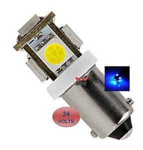 LAMPADA BA9S 5 LED T4W 69 AZUL 24V