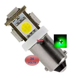LAMPADA BA9S 5 LED T4W 69 VERDE 24V