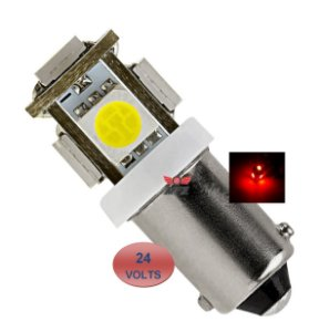 LAMPADA BA9S 5 LED T4W 69 VERMELHO 24V