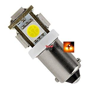 LAMPADA BA9S 5 LED T4W 69 AMARELO 12V