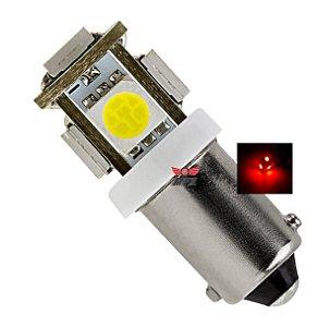 LAMPADA BA9S 5 LED 5050 VERMELHA T4W 69 12V