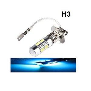 Lampada H3 10 Led Cree Azul Cristal 12v