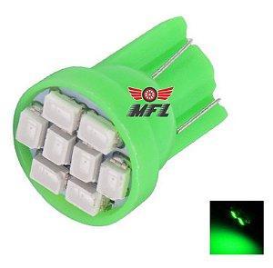 LAMPADA T10 8 LED W5W VERDE 12V
