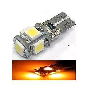 Lampada T10 Cambus 5 Led Canceller W5w Amarelo 12v