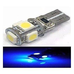 Lampada T10 Cambus 5 Led Canceller W5w Azul Cristal 12v