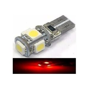 Lampada T10 Cambus 5 Led Canceller W5w Vermelho 12v
